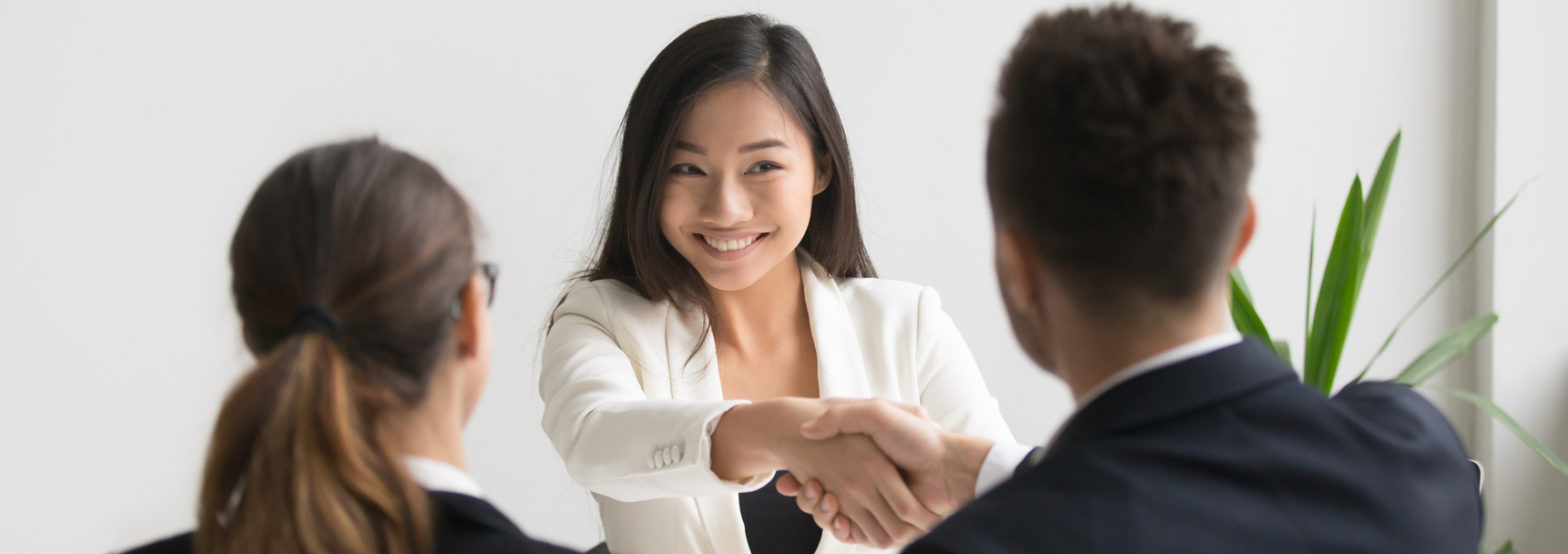 Successful woman making good first impression